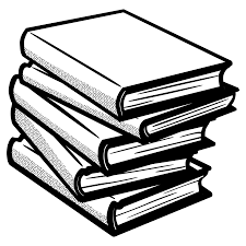 image of a stack of books in black and white