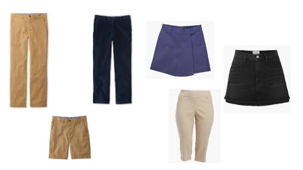 examples of acceptable pants, shorts, skirts and skorts