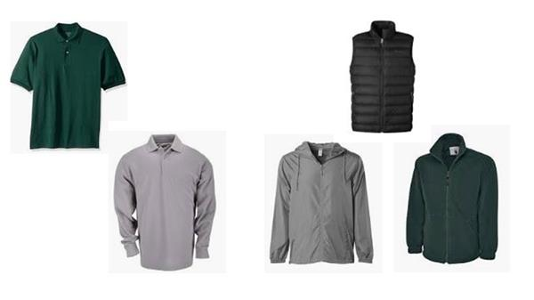 examples of acceptable shirts, short and long sleeve polo shirts, and appropriate outerwear
