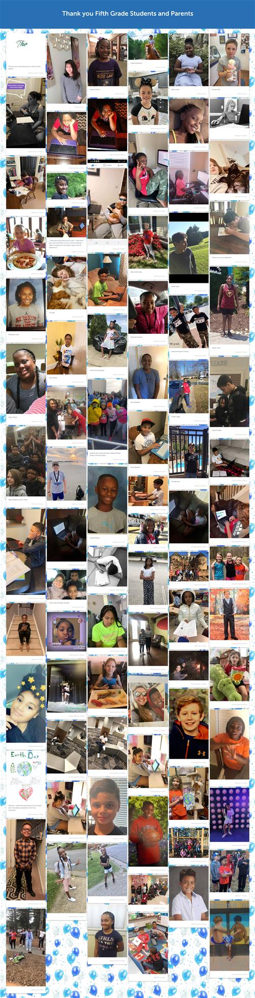 th grade Kudoboard showing each student in distance learning