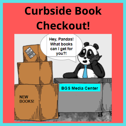 "Cartoon panda sits at desk talking on phone. Boxes labeled ""New Books"" are stacked next to the desk"