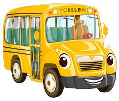 Yellow school bus drawing with smiling face on front of bus