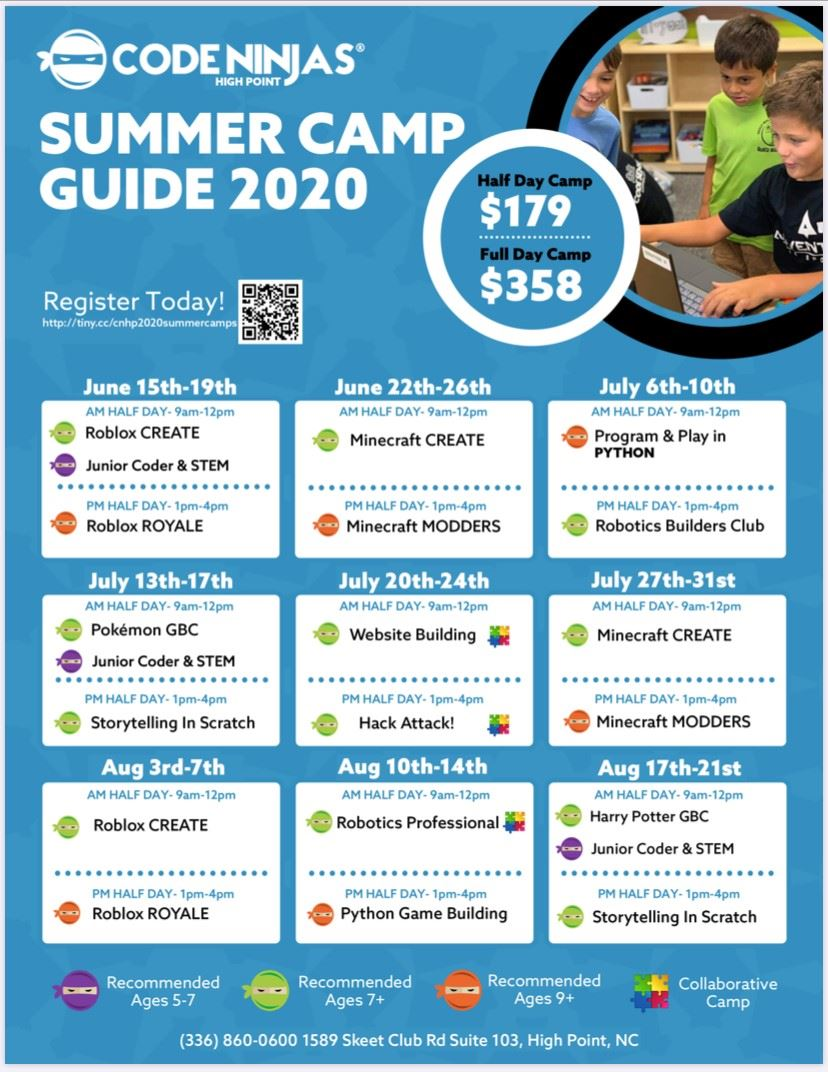 Code Ninjas, Summer Camp Guide 2020  Half Day Camp $179 Full Day Camp $358, Register today June 15-19th, Roblox Create Junior
