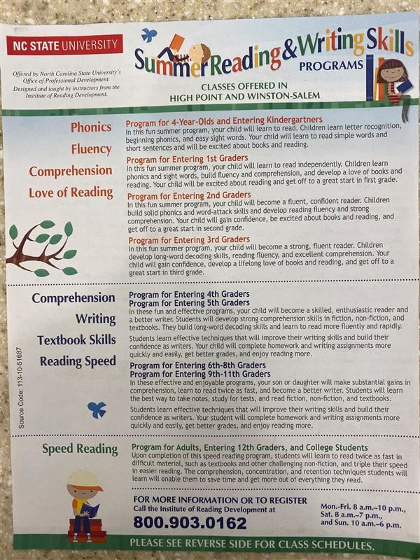 Summer Reading and Writing Skills Classes offered in High Point and Winston Salem, Comprehension Writing Textbook Skills Read