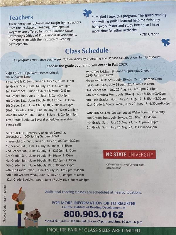 Class Schedule:  All programs meet once each week.  Tuition varies by program grade.  Please ask about our family discount.