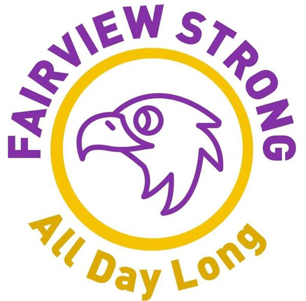 Fairview Logo includes a purple outline of an eagle inside of a circle that reads Fairview Strong Purple  All Day Long Gold