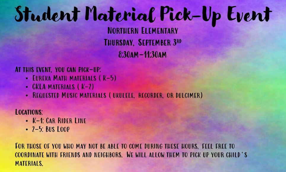 Student Material Pick Up Event September 3rd
