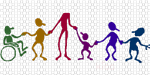 children and adults holding hands