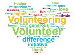 heart word cloud with words describing a volunteer
