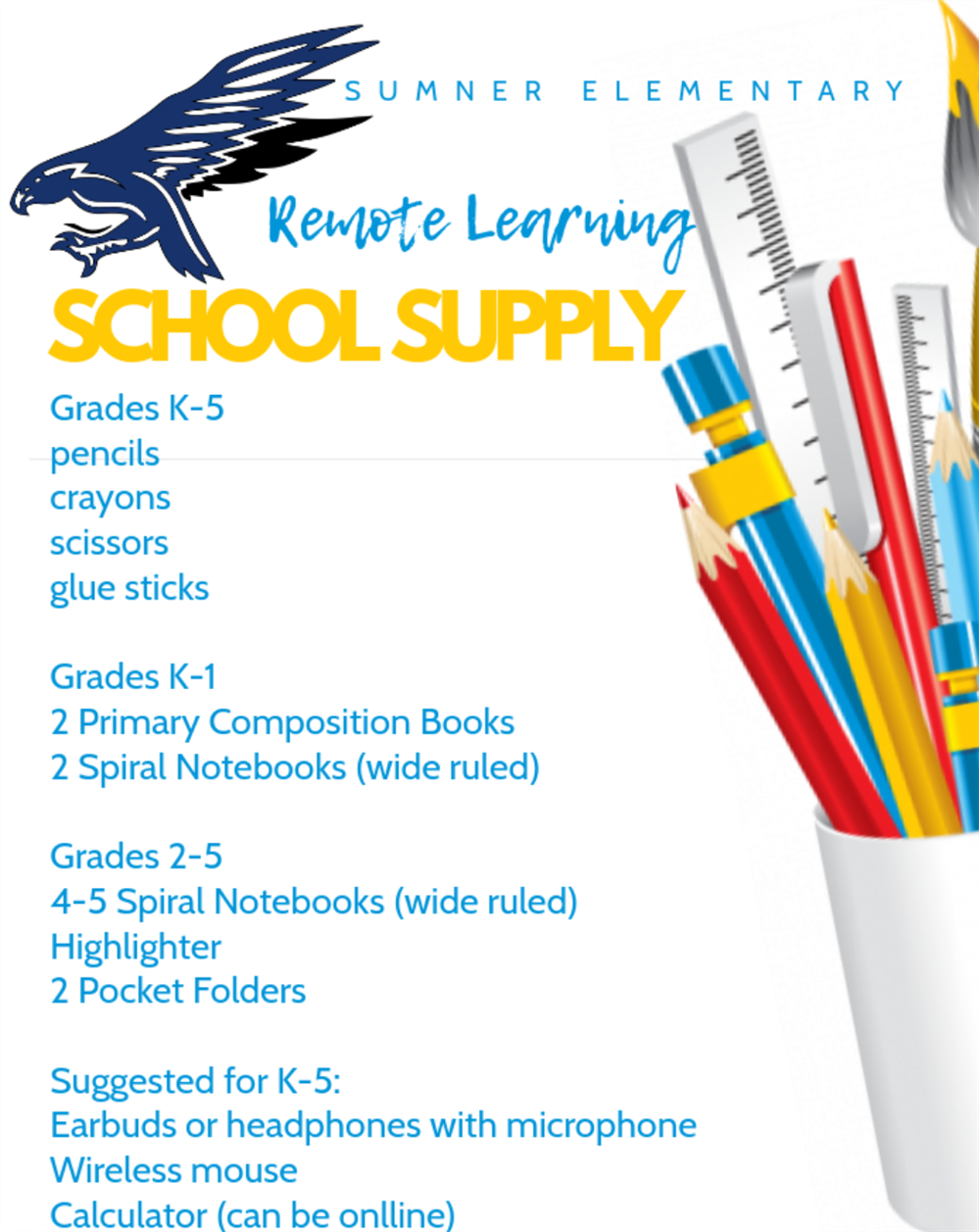 Remote Learning School Supply Grades K-5 pencils crayons scissors glue sticks