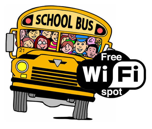 School bus with Wifi symbol