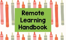 "decorative background with text ""Remote Learning Handbook"""