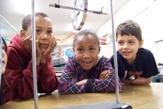 Three%20children%20with%20experiment - Kindergarten Entrance Exam