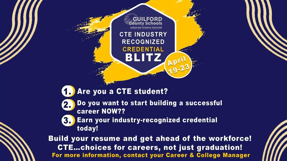 CTE Credentialing Blitz flyer
