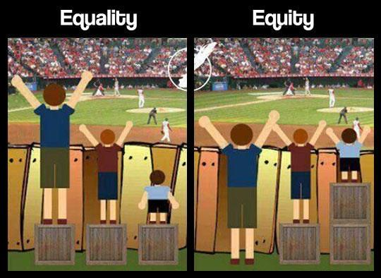 An image portraying equality vs. equity using students on boxes