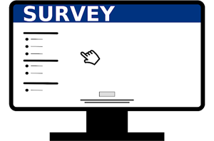 Computer screen with survey displayed