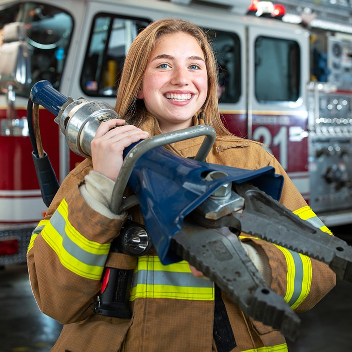 Female student in fire protection technology program