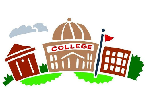Clipart of a college building with a tree on both sides of the building