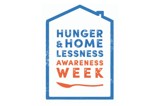 National Hunger and Homelessness Awareness Week Logo shown in orange and blue.