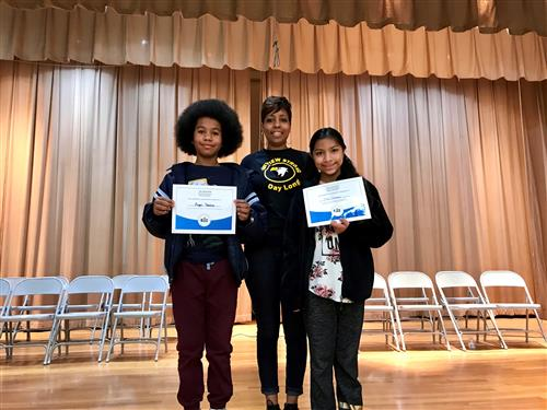 Ms. Lockhart with the Winner and Runner up of the 2019 Spelling Bee