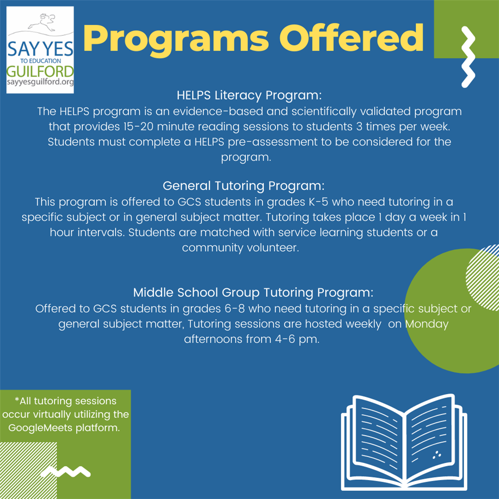 Fairview Elementary is excited to offer an after school tutoring program from Say Yes Guilford.