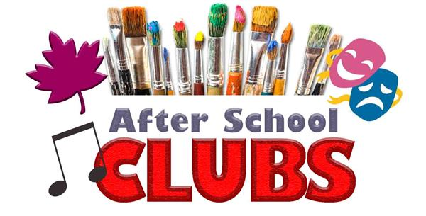 After school clubs clipart with paintbrushes, a musical note, theater masks and a leaf
