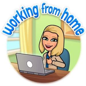 Bitmoji of Suzy Collins Working From Home