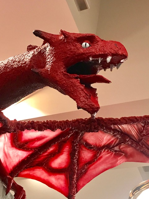 head of red dragon statue