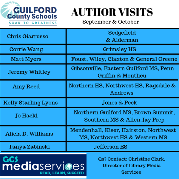 Listing of Schools and Author Visits