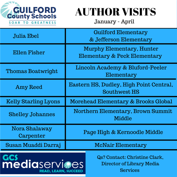 Authors coming to CGS