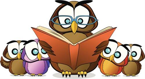 owl reading to baby owls