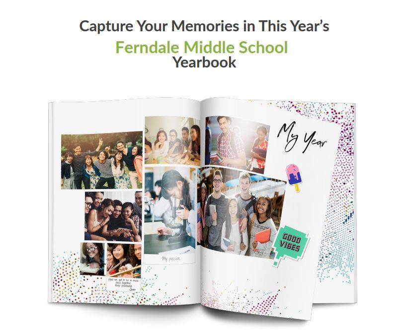 Image of yearbook with a collage of student pictures_Capture Your Memories in This Year's Yearbook