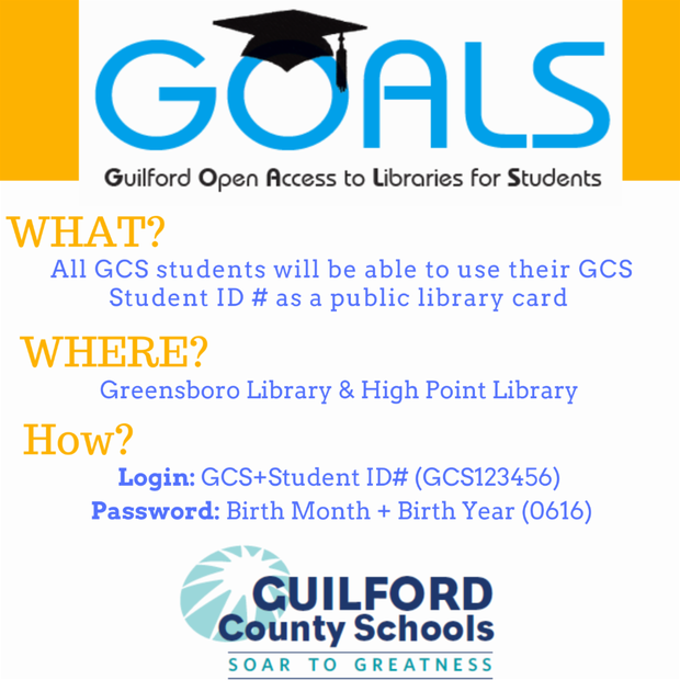GOALS - Every student can use their student ID number as a public library card at Greensboro and High Point Library.