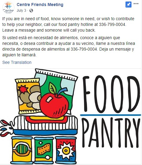 Ad for Food Pantry