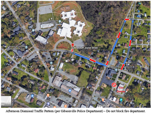 Traffic pattern at Gibsonville Elementary