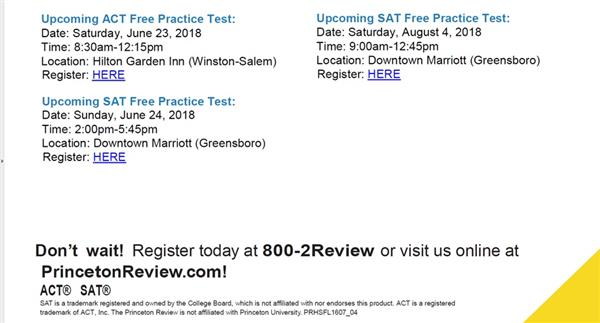 Dates for Testing
