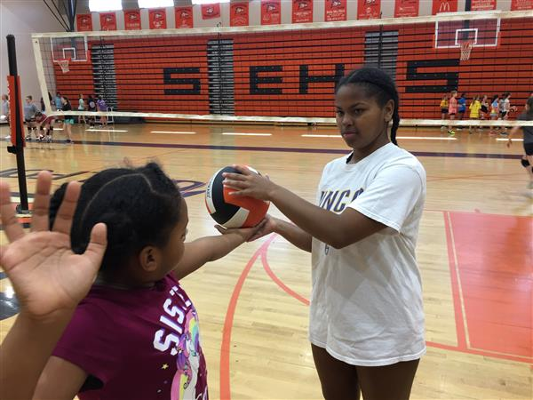 Students at Southeast High volleyball camp