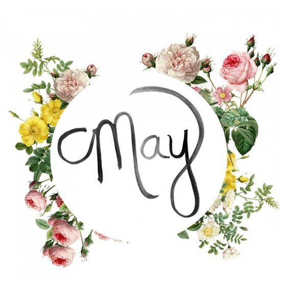 The word May in cursive surrounded by a wreath of multi-colored flowers