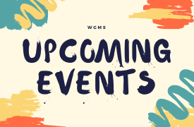 "Light yellow background with orange and blue art designs ""WGMS Upcoming Events"""