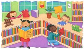 Clipart image representing a library with students.