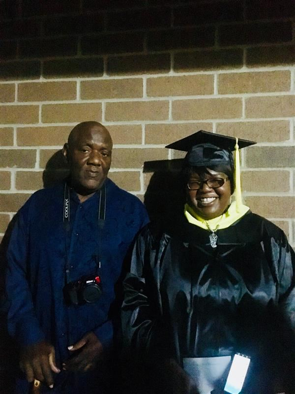 Ms. Jackson at her ECU graduation with her Father