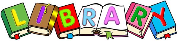 Clipart picture that says LIBRARY with books and children