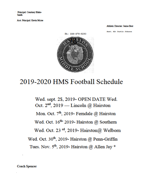 Hairston Football Schedule 2019-2020