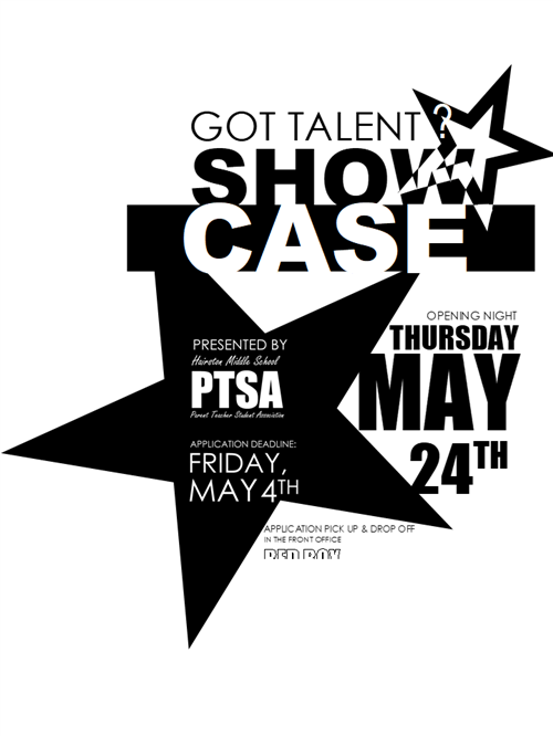 PTSA Talent Show May 24 6:30-8:00 PM
