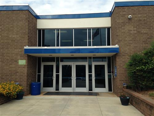 Front doors of Allen Middle School