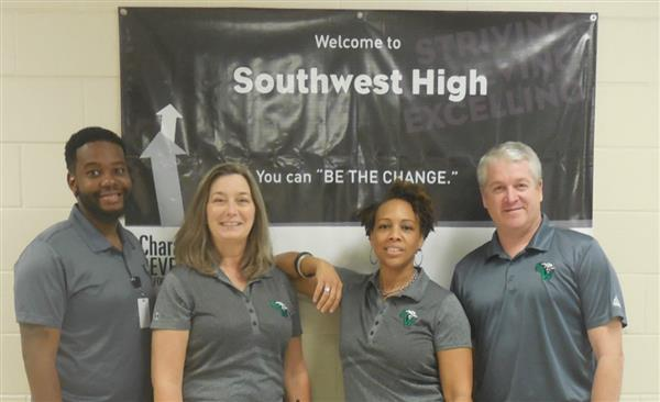 Photo of all four Southwest administrators, from the left Mr. Miller,  Ms. Barnum, Dr. Monell, and Mr. Hettenbach