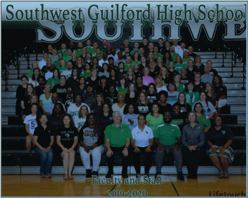 Picture of entire Southwest staff in gymnasium