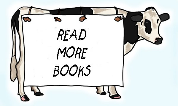 Cow with read more books sign