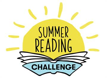 The sun over a book with the words summer reading challenge