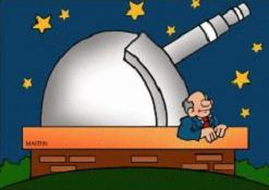 planetarium surrounded by stars in the sky and a scientist watching the stars